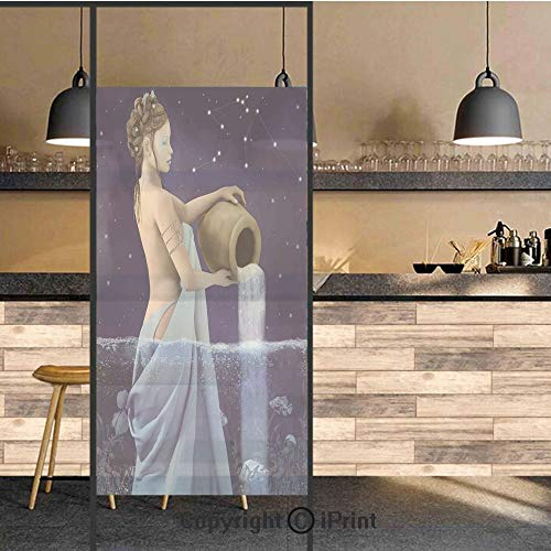 3D Decorative Privacy Window Films,Aquarius Lady with Pail in The Sea Water Signs Saturn Mystry at Night Stars Decorative,No-Glue Self Static Cling Glass Film for Home Bedroom Bathroom Kitchen Office