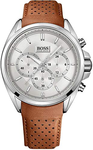 Hugo Boss 1513118 Men's Chronograph Driver Watch, Brown Leather Band, Round 46mm -