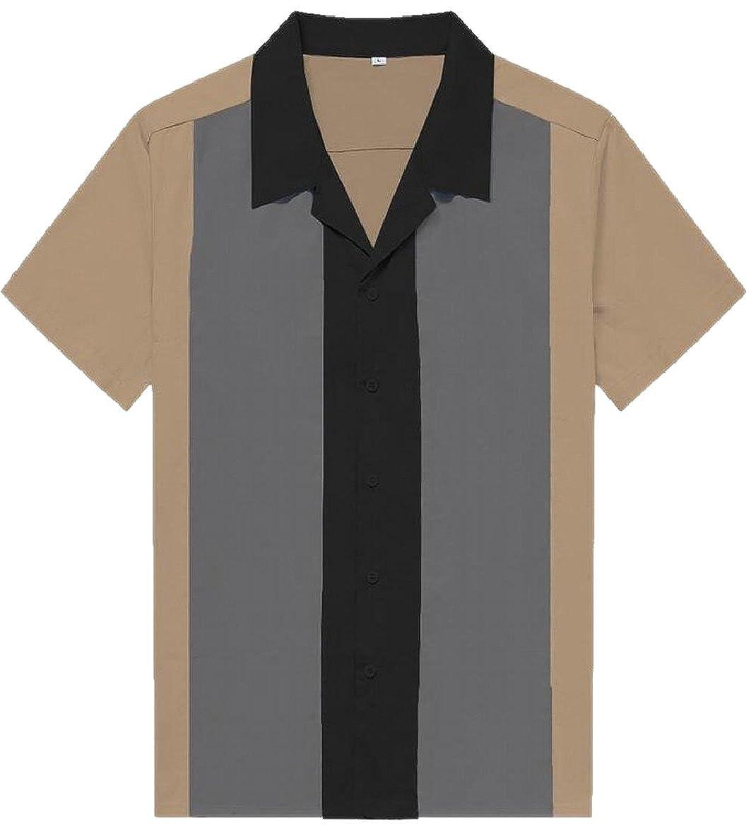 CBTLVSN Mens 50s Male Rockabilly Bowling Style Dress Shirt Brown XL