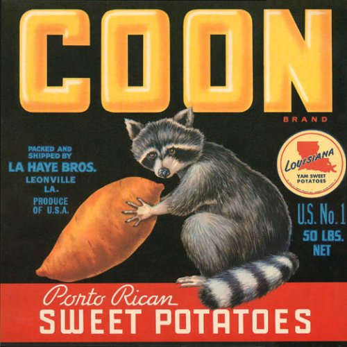 COON PORTO RICAN SWEET POTATOES RACCON CRATE LABEL PRINT REPRODUCTION
