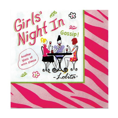 C.R. Gibson Lolita Novelty Cocktail Sized Paper Napkins, Girl