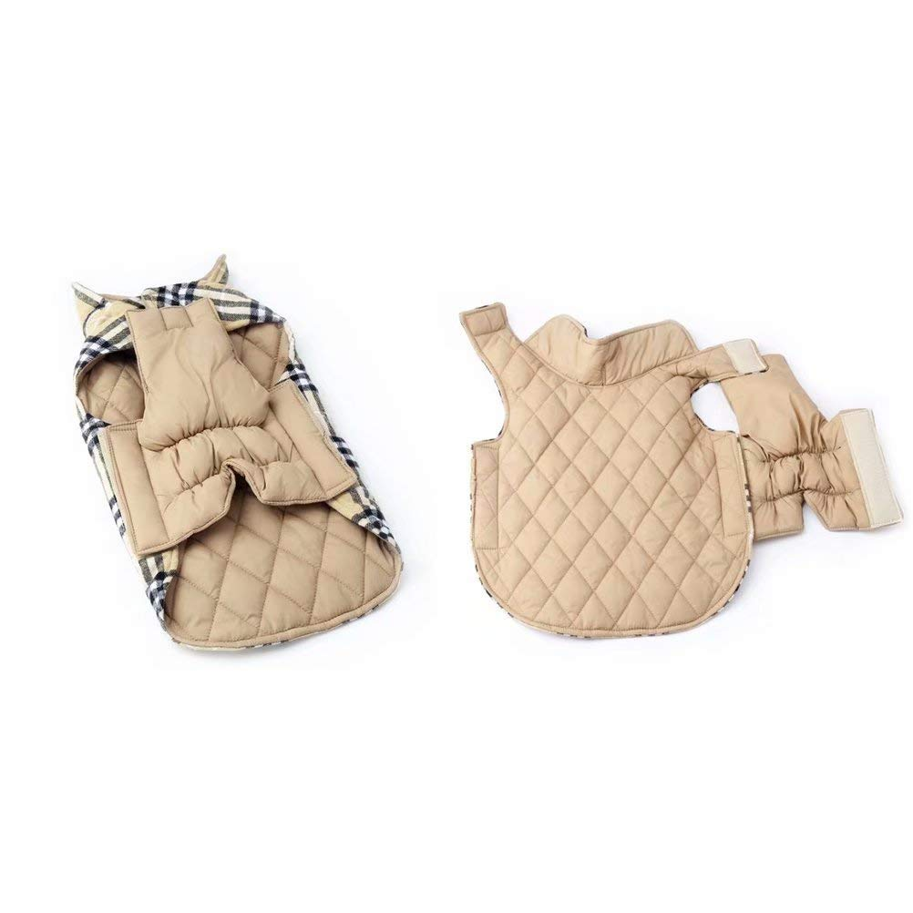 EDUPLINK Waterproof Windproof Dog Vest Winter Coat Warm Dog Apparel Cold Weather Dog Jacket Velcro Design S - XXL Better Fit for Small/Medium/Large Dogs Winter British Style Beige/Green/Red Plaid