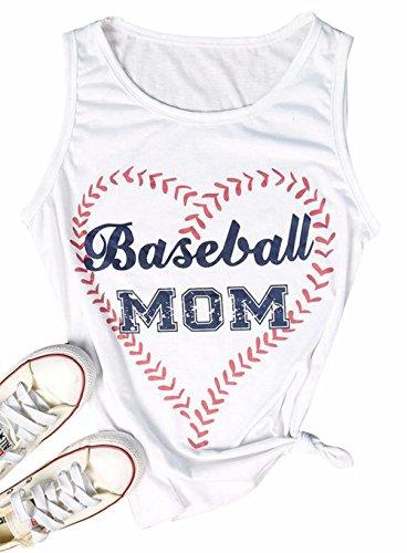 DUTUT Womens Baseball Mom Funny Tank Tops Loose Fit Heart Print Sleeveless Casual Shirt Blouse Size XL (White)