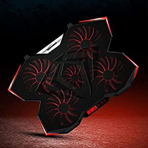 TopMate C7 15.6-17.3-Inch Gaming Laptop Cooler Cooling Pad, Five Quite Fans and LCD Touch Screen,2400RPM Strong Wind Alien Style Designed for Gamers and Office
