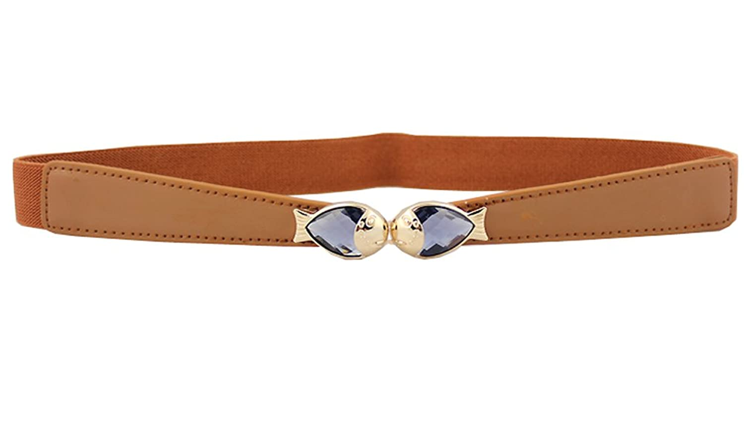 JTC Women's Fish Decor Elastic Belts Camel