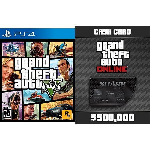 Grand Theft Auto V - PlayStation 4 + Grand Theft Auto V: Bull Shark Cash Card - PS4 [Digital Code] bundle (Xbox Shark Card Gta 5 compare prices)