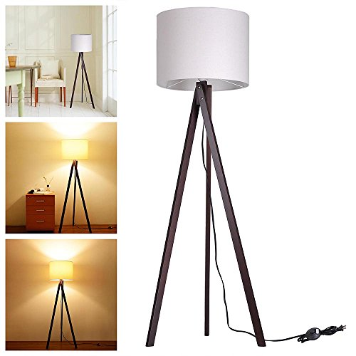 Yescom Wooden Tripod Cotton Lampshade