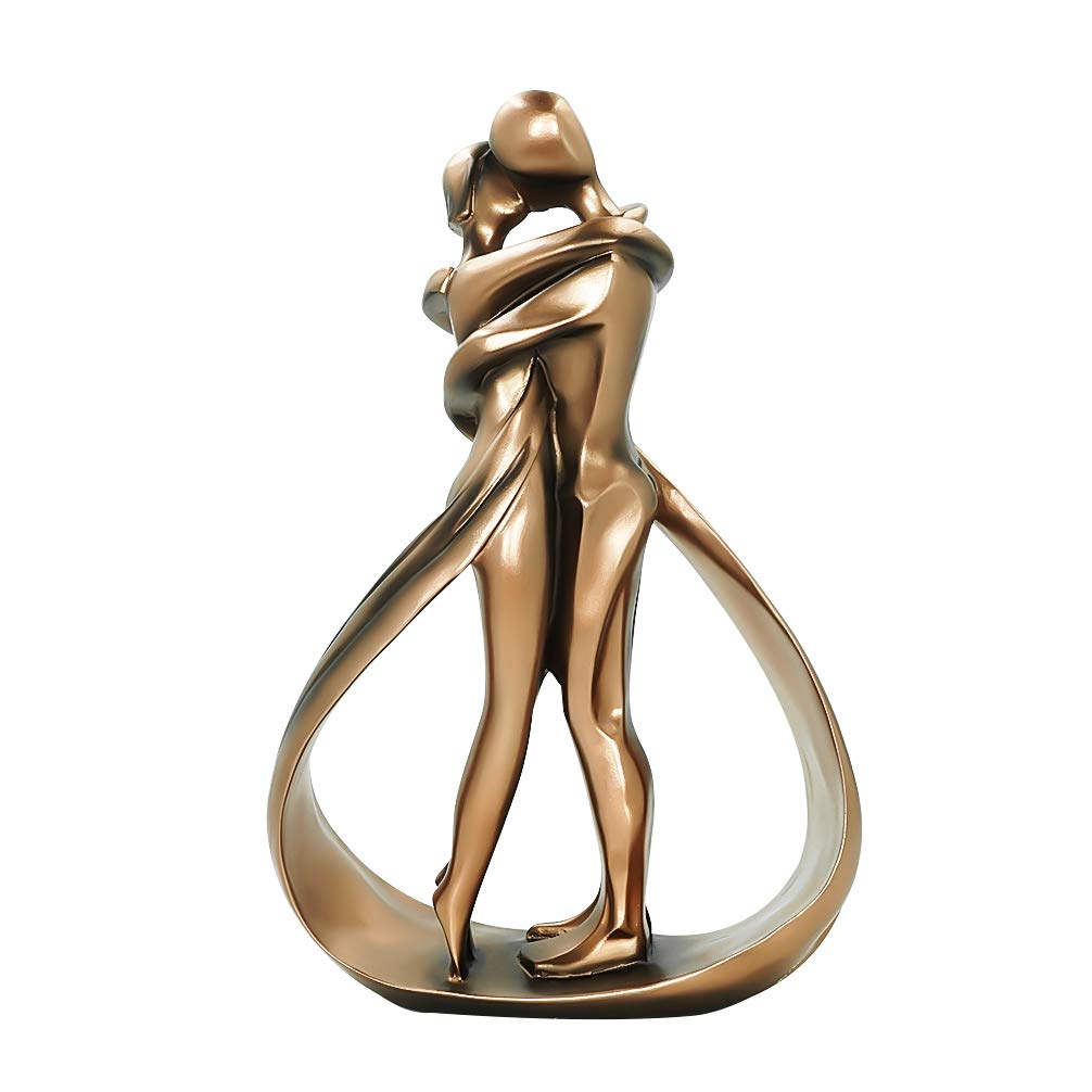 DreamsEden Affectionate Couple Art Resin Sculpture, Passionate Embrace & Kiss Statue Abstract Romantic Ornament Figurine Home Decor (Antiqued Copper)