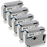 5-Pack Compatible Brother P-Touch M-231 M-K231 Standard P-Touch Tape, Black on White 1/2-Inch, for Use with Brother P-Touch PTM95, PT70BM, PT-90, PT-70, PT-80, PT-65, Label Maker and More, 26.2 feet