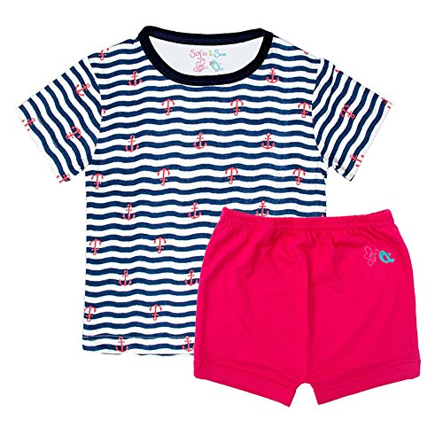 Sofie & Sam Organic Cotton Baby Tee T-Shirt & Shorts Set For Age 9 To 12 Months - Anchjor In Sea & (Day Organic Baby T-shirt)