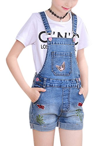 Luodemiss Girl's Big Kids Elegant Embroidery Jeans Shortall Denim Overalls Cowboy Suspender 5-6Y,Blue 2 by Luodemiss