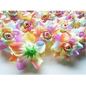 "(100) Silk Light Rainbow Roses Flower Head - 1.75"" - Artificial Flowers Heads Fabric Floral Supplies Wholesale Lot for Wedding Flowers Accessories Make Bridal Hair Clips Headbands Dress 5"