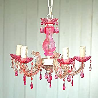 lounge-zone EMMA PID 6716 - Lámpara de araña (cristal acrílico 5 brazos 30 x 38 cm) diseño infantil color rosa