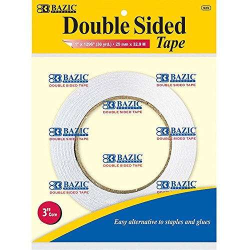 Bazic Products 925-72 BAZIC 1 in. X 36 Yard - 1296 in. Double Sided Tape Case of 72 by Bazic