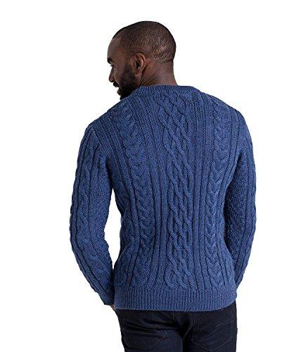 WoolOvers Pullover mit Aran-Muster aus reiner Wolle für Herren French Navy, XL