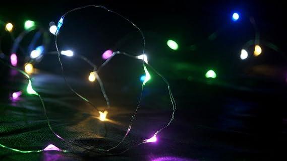 Bloomwin-Tira Luces Cobre Luces LED Tiras 2 Metros 20 Bombillas para Decoración de Fiesta