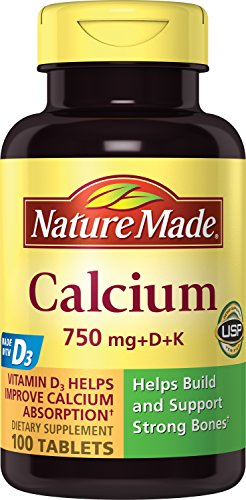 Nature Made Calcium (Carbonate) 750 mg w. Vitamin D3 500 IU & Vitamin K 40 mcg Tablets 100 Ct For Sale