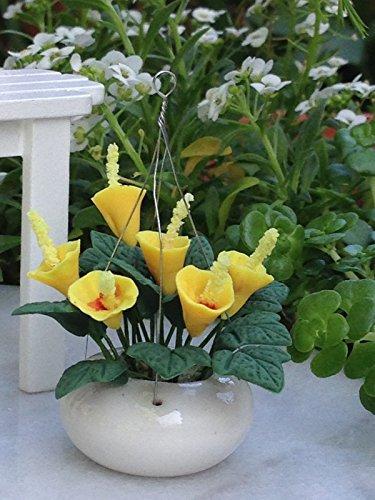 Miniature Dollhouse Fairy Garden Yellow Calla Lilies Flowers Hanging Pot