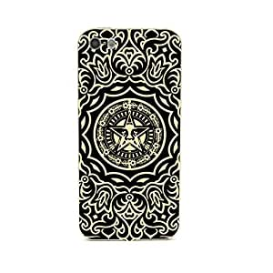 Euclid+ - Gold Line Pattern Obey Flower Embossed Design Gold Bumper Metal Frame Full Armor Protect Case Cover for Apple iPhone 5 5s 5th 5g 5Generation Come With FREE Non Woven Packing Bag