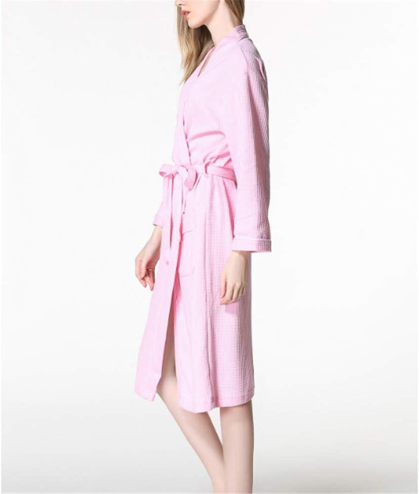 Kimono Batas Algodón Ligero Bata Corta Tejido Albornoz Ropa de Dormir Suave con Cuello en V para,Par Suave algodón Rosa XL: Amazon.es: Hogar