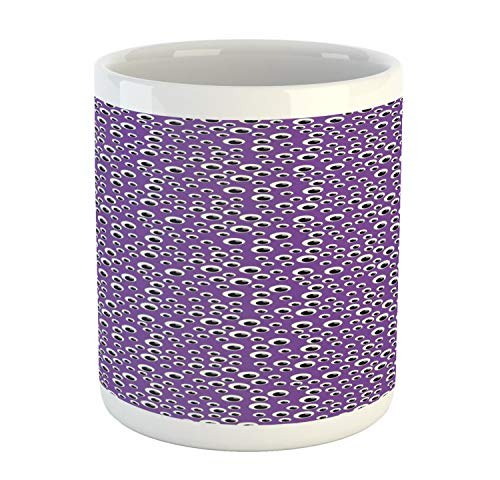 Lunarable Eyeball Mug, Abstract Halloween Inspired Pattern with Irregular Order Eyes, Printed Ceramic Coffee Mug Water Tea Drinks Cup, Violet Charcoal Grey and -