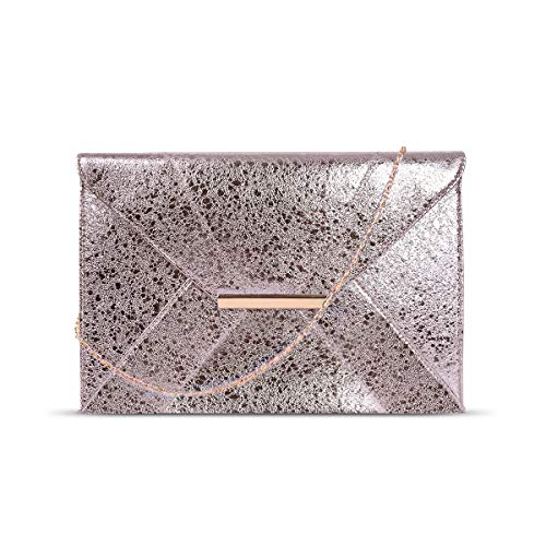 (Anna Smith Cross Body Purses for Women Wristlet Clutch Crossbody Bag with Chain Strap Womens Evening PU Leather Magnet Hook Ladies Envelope Wedding Party Prom Thin Bags with Pocket Gold)