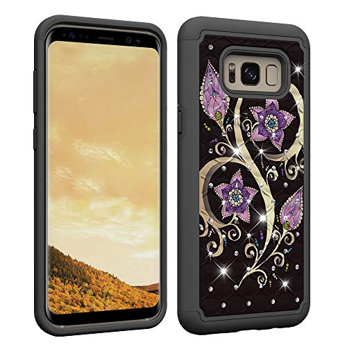 Aiyze Compatible Samsung Galaxy S8 Plus Case, S8+ Case [Heavy Duty] Tough Dual Layer 2 in 1 Rugged Rubber Hybrid Hard Soft TPU Back Protective Cover Coloured Drawing with Bling Crystal Peacock Flower