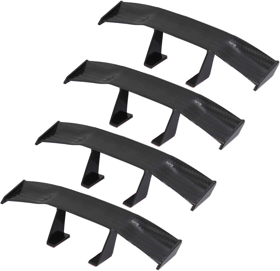 Auto Car Tail Wing Mini Auto Carbon Fiber Texture Decoration Without Perforation Tail Decoration Black 6.7 Inch Length BokWin 4Pcs Universal Car Mini Spoiler Wing
