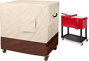 TUYUU Outdoor Cooler Cart Cover, Universal 80-100 Quart Rolling Cooler Cover for Most Patio Cooler,Beverage Cart, Rolling Ice Chest, Deep Freezer Chest