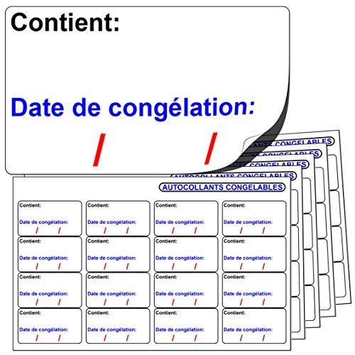 256x AUTOCOLLANTS CONGELABLES. « Contient: Date de congélation: » Compatibles avec tout stylo ou stylo à bille standard. Label Create