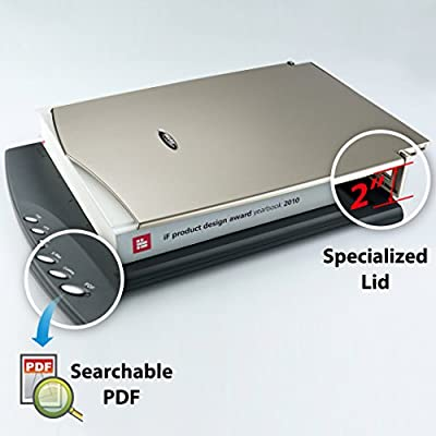 Plustek OpticSlim 2610 Flatbed Scanner, Special Design for Thick Book. Design Soho and Personal use. for PC and Mac