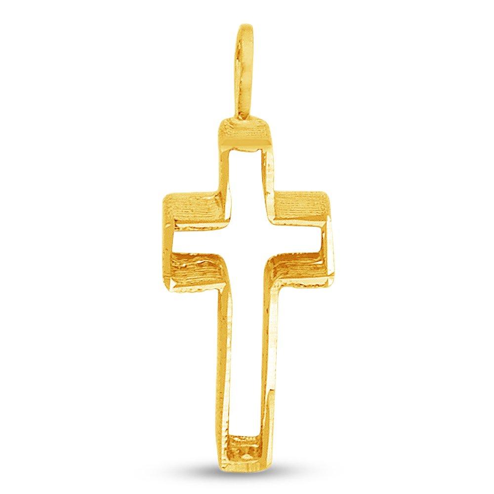 14k Yellow Gold Religious Crucifix Pendant Charm