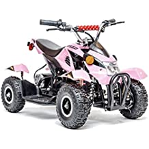 Rosso Motors Kids ATV Kids Quad 4 Wheeler Ride On with 500W 36V Battery Electric Power Lights in Pink Motorcycle for Girls, Disc Brake System for Child Safety