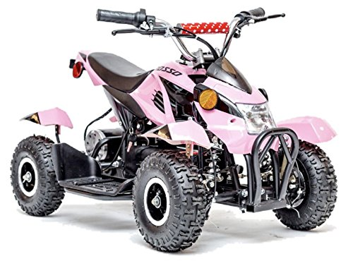 Rosso Motors Kids ATV Kids Quad 4 Wheeler Ride On with 500W 36V Battery Electric Power Lights in Pink Motorcycle for Girls, Disc brake system for Child (Miniature Atv)