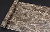 Dark Brown Granite Look Marble Gloss Film Vinyl Self Adhesive Counter Top Peel and Stick Wall Decal 24''x79''
