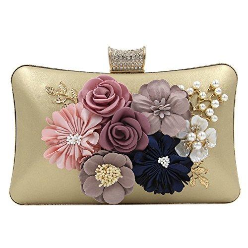 Onfashion Bolso con Flores de Bordado para Mujer Bolso de Fiesta Cartera para Chicas Monedero Bolso de Cosméticos Dolado