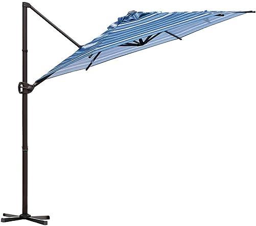 Abba Patio Offset Cantilever Umbrella 9-Feet Outdoor Patio Hanging Umbrella with Cross Base, Blue Stripe