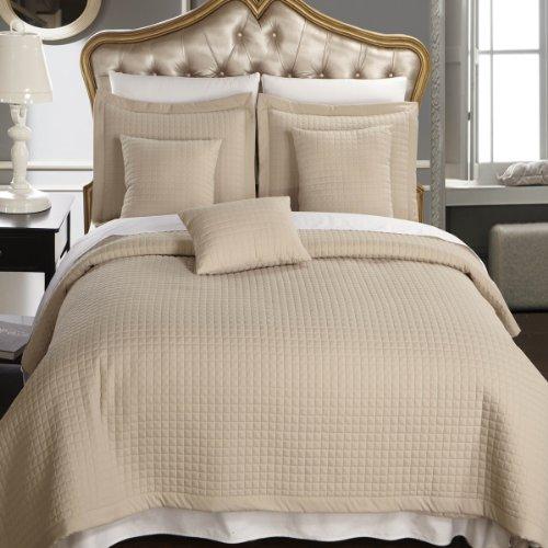 California King size Linen / Beige Coverlet 6pc set, Luxu...