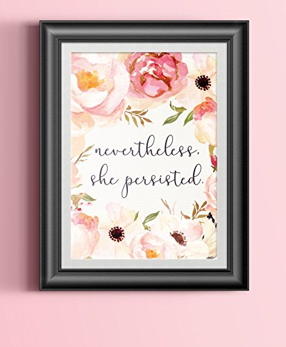 Nevertheless She Persisted Poster Feminist Quote Watercolor Floral Art Print