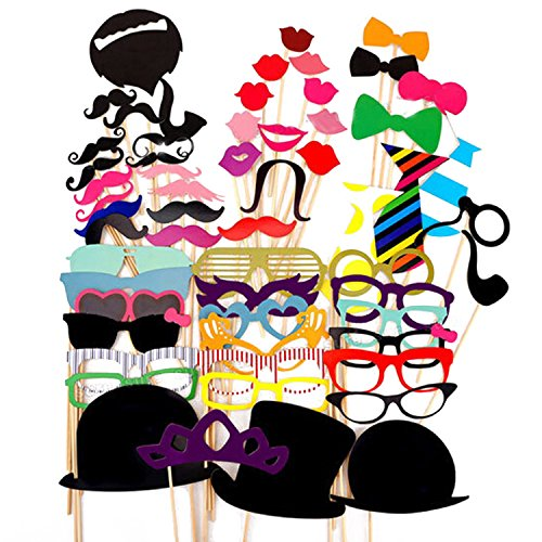 Party Booth Props Sticks DIY Kit 58pcs Funny Creative Dress-Up Costumes Selfie Props Accessories for Wedding Birthday Graduation Christmas Party,Mustache with