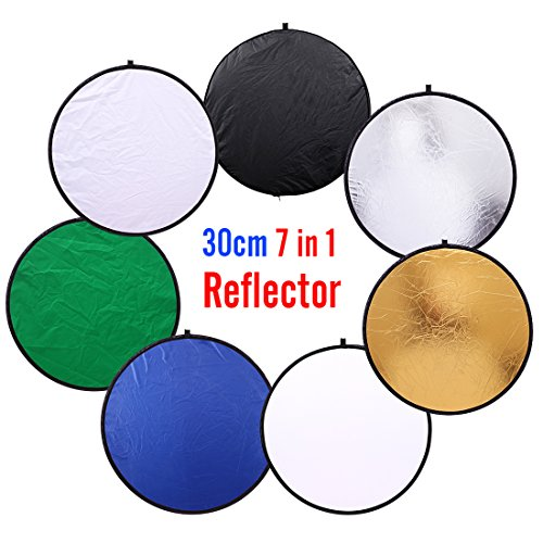 12 inch (30cm) Round Collapsible Mini Light Reflectors for Photography 7-in-1 Portable Sun Reflector for Studio Multi Photo Disc White,Blue,Green,Gold,Silver,and Black