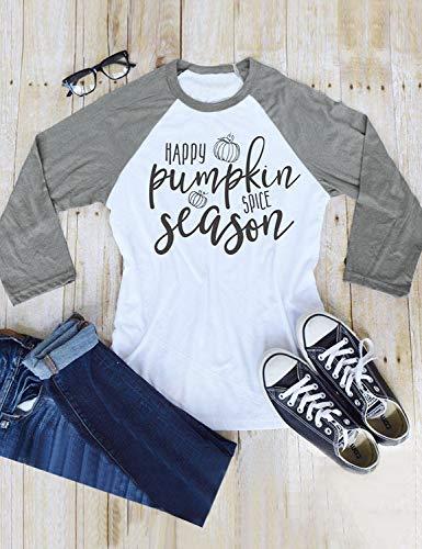 ada8eb01db2 Nlife Women Happy Pumpkin Spice Season Blouse Long Sleeve Shirt Halloween  Blouse