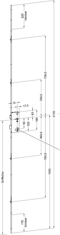 Winkhaus STV-F1660 92 R4 MC - Cerradura múltiple (16 mm, con 4 ...