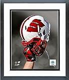 Wisconsin Badgers Football Helmet Spotlight Photo (Size: 12.5'' x 15.5'') Framed