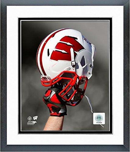 Wisconsin Badgers Football Helmet Spotlight Photo (Size: 12.5 x 15.5) Framed Photo File
