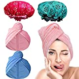 Anezus 4 Pack Hair Towel Wrap Microfiber Hair Turban Bath Shower Drying Head Towel with Waterproof Shower Cap and Bath Cap for Long hair Women Girl