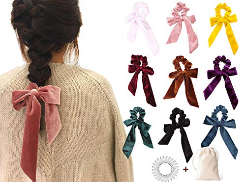 9 PCS Hair Scrunchies Bow Velvet Elastics Hair Ties Scrunchy Hair Bands Vintage Aceessories Ponytail Holder for Women Girls
