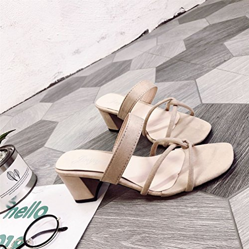 Été Ouvert Chaussures Femmes Confort Tongs Carrés Lanières Mules Talons Mode Carré Bout Sandales Beige WqCnPBFg