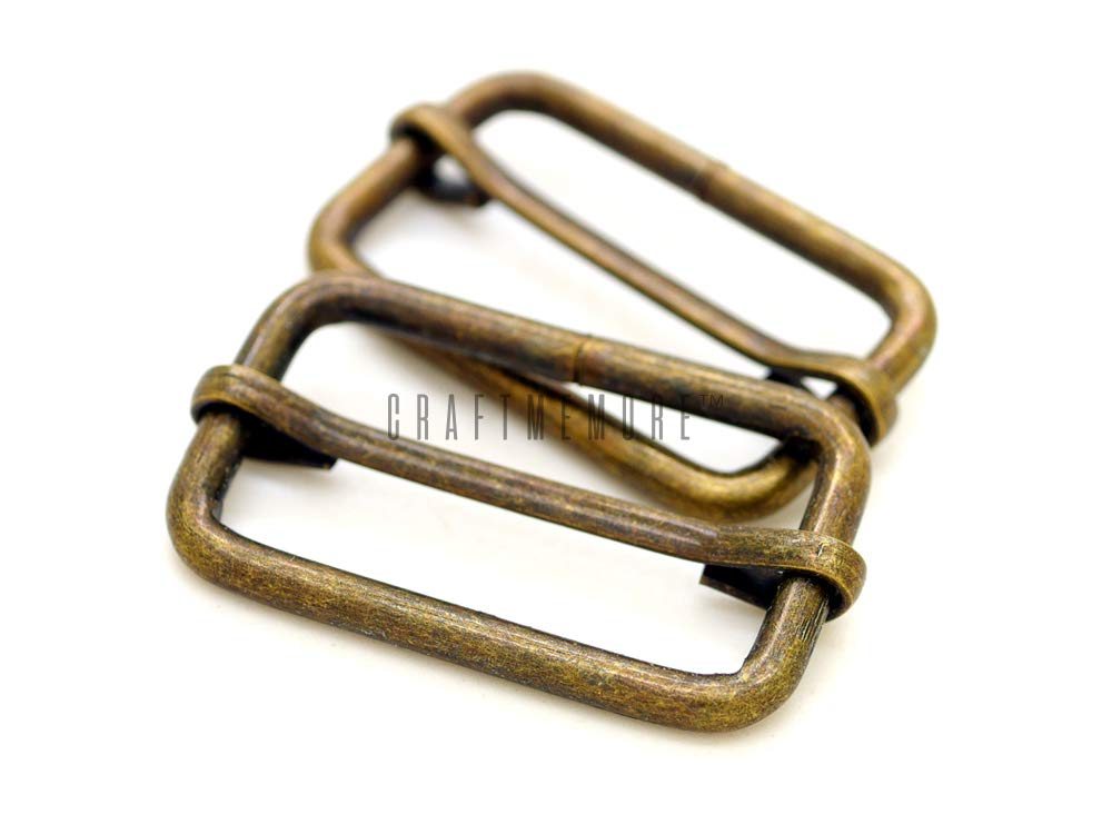 CRAFTMEmore Movable Bar Slide Strap Adjuster Rectangle Strap Keeper Triglide Belt Keeper Purse Making 1 1/4'' & 1 1/2'' (1-1/2'' x 100 Pack, Antique Brass) by CRAFTMEmore Loops & Sliders