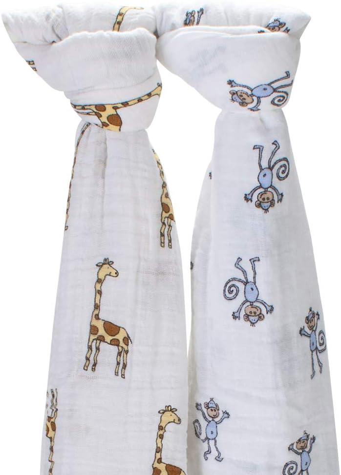 [ エイデンアンドアネイ ] Aden+Anais おくるみ 2枚セット モスリンコットン クラシック スワドル ジャングルジャム(4023) 2-PACK SWADDLING WRAPS jungle jam - monkey + giraffe ベビー ブランケット 出産祝い アフガン スワドリングラップ [並行輸入品]